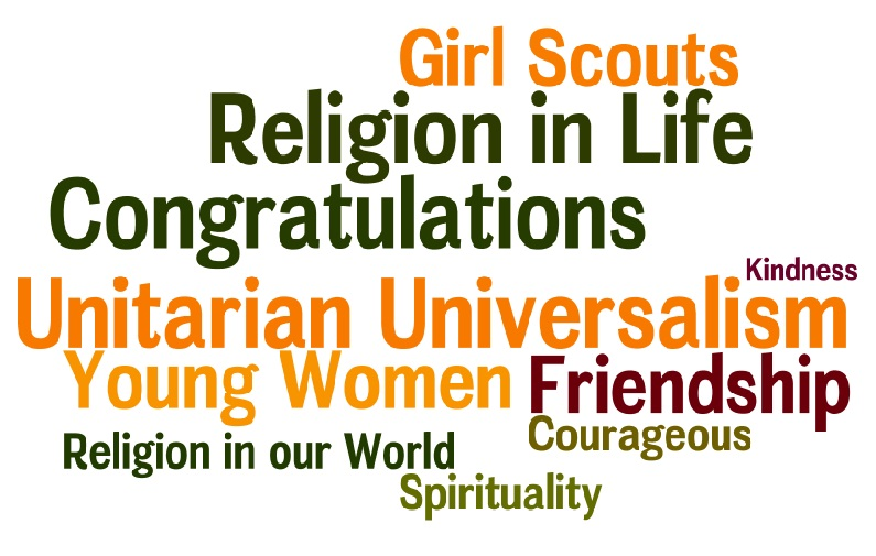 Create your own Word Chart here: http://www.wordle.net/create. The more words you type into the box, the larger the word will be in your Word Chart. More than one word (Religion in Life) requires a ~ in between the words (Religion~in~Life). You can print your Word Charts and hang them in the meeting space where you meet for Girl Scout activities. Have fun!
